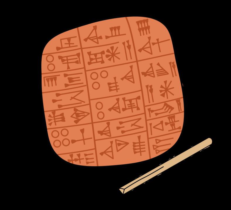 Page d'accueil. Une tablette cunéiforme avec calame utilisé comme lien entre la correspondance ancienne et le formulaire de contact du site.