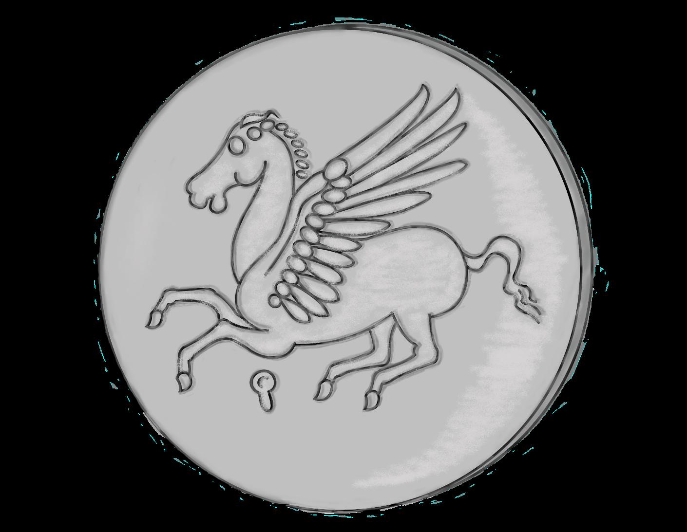 Page d'accueil. Dessin d'une pièce de monnaie grecque avec un pégase pour renvoyer à la page